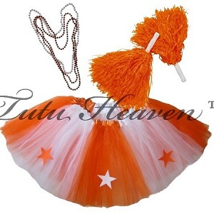 LONG ALL STAR Cheerleader Tutu Set White Orange