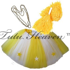 LONG ALL STAR Cheerleader Tutu Set White Yellow