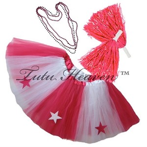 SHORT ALL STAR Cheerleader Tutu Set White Hot Pink