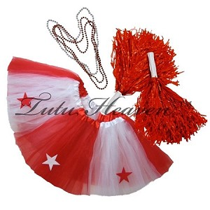 SHORT ALL STAR Cheerleader Tutu Set White Red