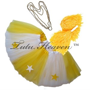 SHORT ALL STAR Cheerleader Tutu Set White Yellow