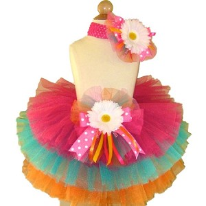 Birthday Tutu Hot Pink Turq Orange