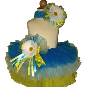 Birthday Tutu Neon Blue Lite Blue Yellow
