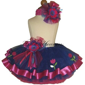 Ribbon Tutu Set Royal Blue Tulips