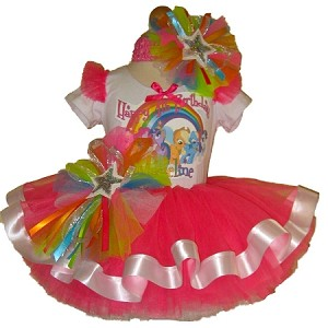 My Little Pony Party Neon Pink Ribbon Tutu Set