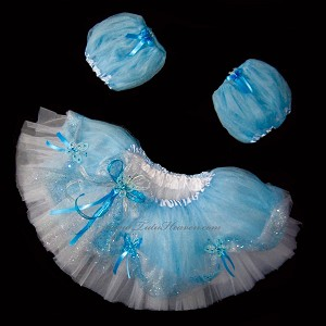 Short LT BLUE BUTTERFLY Princess Tutu . Blue White
