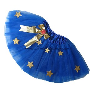 SHORT Super Hero Tutu Royal Blue with Gold Stars