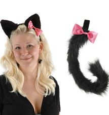 Black Kitty Ears and Tail Set