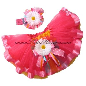 Easter Neon Pink Ribbon Tutu Set