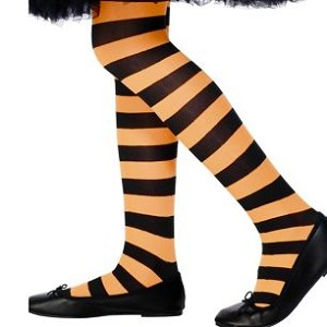 Girls Black Orange Striped Tights