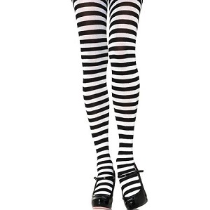 Adults Black White Striped Tights