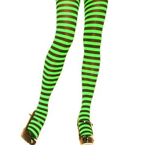 Adults Black Neon Green Striped Tights