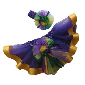 Mardi Gras Ribbon Tutu Set . INFANT to 6X