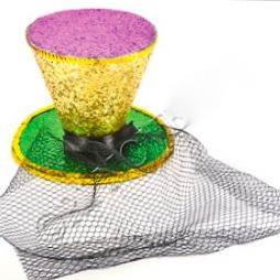 Mini Glitter Top Hat Mardi Gras