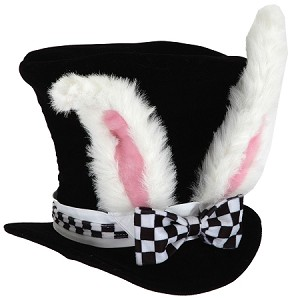 Alice in Wonderland Mini White Rabbit Top Hat with Ears