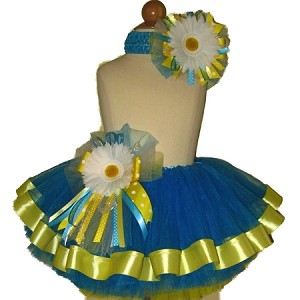 Ribbon Tutu Set Blue Yellow