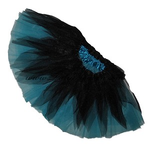 SHORT Shredded Black Turquoise Tutu